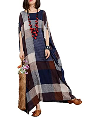 Yesno JM0 Women Long Loose Plaid Skirt Dress Chinese Traditional Ancient Dress Pattern Patched 100% Linen/Side Pocket