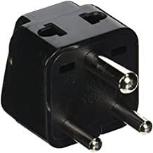 Orei P21-10-2PK 2 in 1 USA to India Adapter Plug (Type D) - 2-Pack, Black