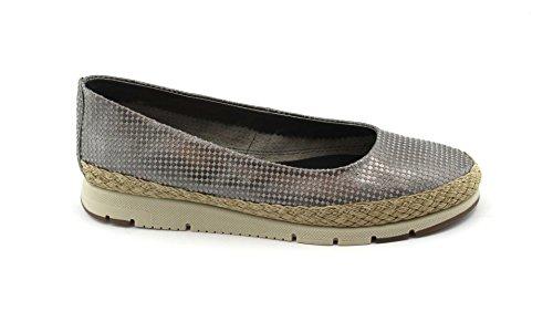 FRAU Gris Metálico Agujeros Línea de Cuero Zapatos de La Bailarina de Confort de Las Mujeres Fx 51Y1 Grigio