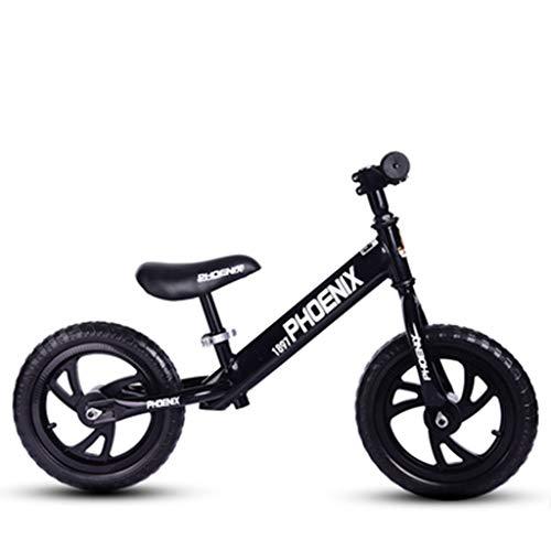 QAZWSX Balance Bike 2-3-6 Years Old Child Balance Car Slide Car Child Slide Child Magnesium Alloy Bicycle 12 Inch Wheel Yo (Color : Black)