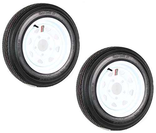2PCS Trailer Tires On Rims 5.30-12 530-12 5.30 X 12 5 Hole Wheel White Spoke Load Range B 5Lug P811
