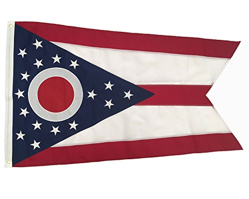 Winbee Ohio State Flag 3x5 Ft - Embroidered Stars and Sewn Stripes, Long Lasting Nylon Perfect for Outdoor Use, Sturdy Brass Grommets, UV Protected, The Strongest US Flags Ohio
