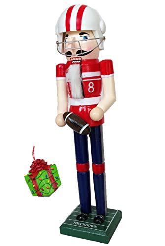 (Football Player Sports Large Unique Decorative Holiday Season Wooden Christmas Nutcracker & Bonus Tree Ornament)