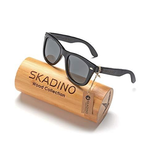 SKADINO Wayfarer Maple Wood Sunglasses with Polarized Lenses-Handmade Floating Skateboard Wooden Shades for Men & Women-Pink SKD005
