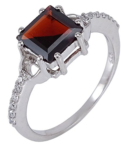 Banithani 925 Sterling Silver Garnet Stone Indian Women Party Ring Fashion Band Jewelry - Garnet Sterling Silver Designer Ring