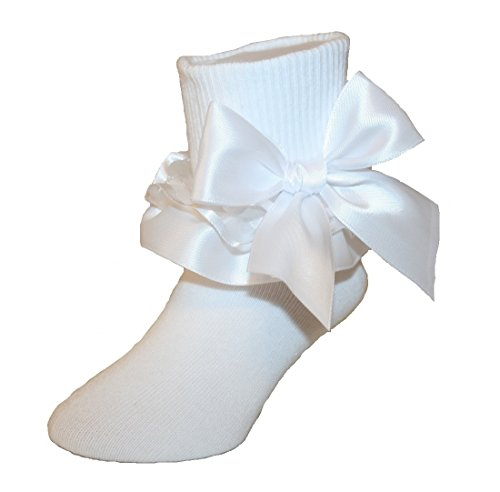 Girls Ruffle Ankle Socks with Satin Organza & Bows in Assorted Colors (5-6.5 Toddler, (White Socks Jeans)