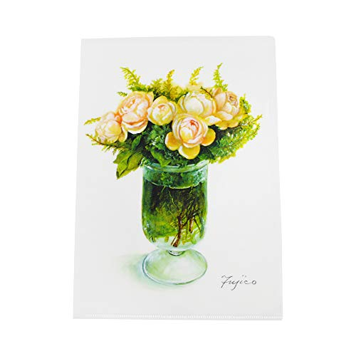 FRONTIA A4 크기 8.27X11.69 명확한 플라스틱 폴더 꽃 디자인 귀여운 FRORAL 일본 수입품
