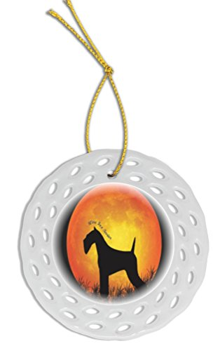 Fox Silhouette Wire Terrier (Rikki Knight Wire Fox Terrier Dog Silhouette Moon Wreath Porcelain Ornament/Car Rear View Mirror Hanger)