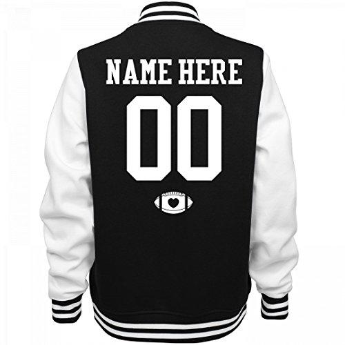 Varsity Football Mom Custom Name: Ladies Fleece Letterman Varsity Jacket (Customized Fleece Jackets)