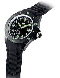 Quartz Plastic and Silicone Casual Watch, Color:Black (Model: 40NINE02/GREEN20)