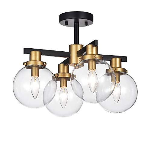 Home Accessories CM084/4 Tegan Black & Gold 4 Ceiling Light with Glass Shades Flushmount, Black/Gold