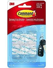Command Mini Hooks, Mini, Clear, 6 Hooks 8 Small Strips