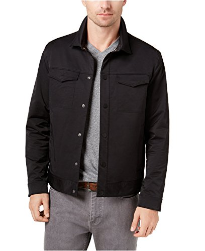 (Alfani Men's Devon Snap-Button Jacket (Black, Large) )