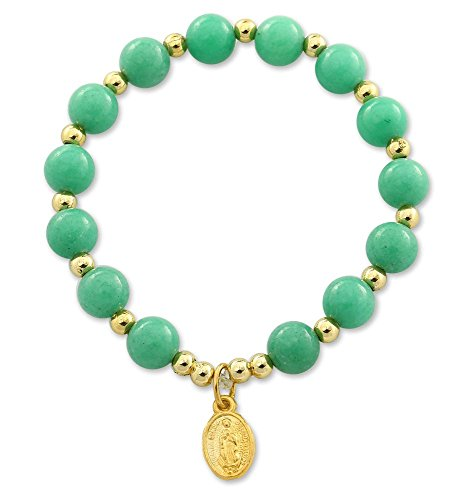 Mountain Jade Lite Green Beaded Bracelet with Lady of Guadalupe Gold Plated Medal