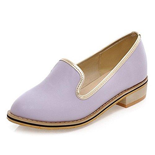 COOLCEPT Mujer Moda Sin Cordones Bombas Zapatos Tacon Ancho Bajo Zapatos Purpura