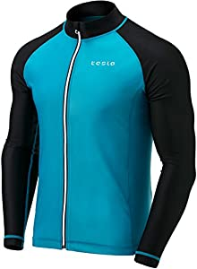 Tesla Men's UPF 50+ Zip Front Long Sleeve Top Rashguard Swimsuit MSZ03