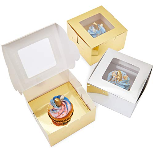 Juvale Single Cupcake Boxes (24 Pack), Metallic Gold and Silver, 5 x 3 Inches -