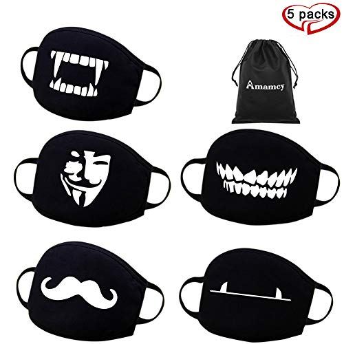 Amamcy 5 PCS Cotton Anti-dust Mask Face Mask Cute Cartoon Breathable Dustproof Mouth-Muffle for Men Women Unisex for Birthday Party,Halloween,Christmas and Masquerade Ball