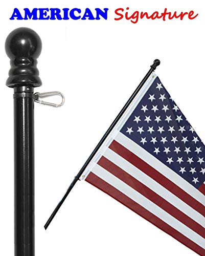 American Signature Flag Pole 6 ft - Heavy Duty Aluminum Tangle Free Spinning Flagpole with Carabiners - 2019 New Enhanced Design - Outdoor Wall Mount Flagpole for Residential or Commercial (Black, 6) by American Signature (Image #1)