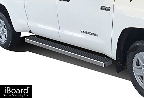 - APS iBoard (Silver 6 inches) Running Boards | Nerf Bars | Side Steps | Step Rails for 2007-2019 Toyota Tundra Double Cab Pickup 4-Door