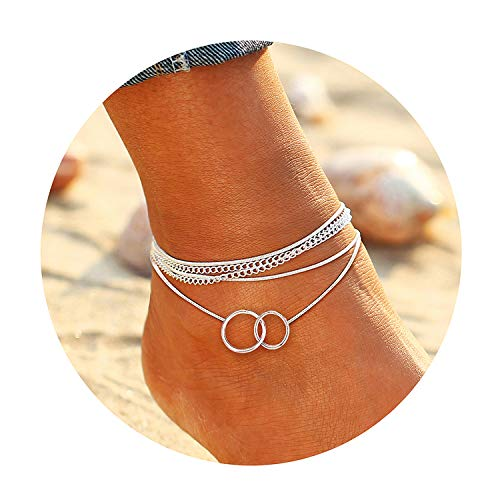 - FAXHION Round Ring Multilayer Anklet - Silver Plated Chain Anklet - Anklets for Women,Summer Holiday Ankle Jewelry