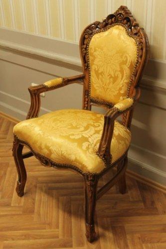 LouisXV silla de comedor antigüedad, tela de oro barroco ...