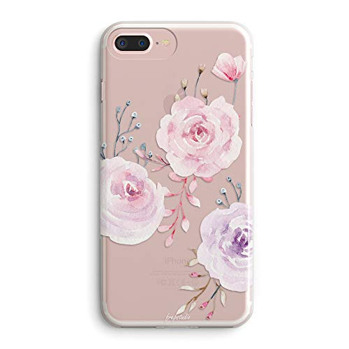 iPhone 7 Plus/iPhone 8 Plus Case,Roses Floral Flowers Daisy Tulip Blooms Obsession Camellia Women Girls Trendy Pink Cute Pretty Spring Simple Clear Soft Case Compatible for iPhone 8 Plus/7 Plus