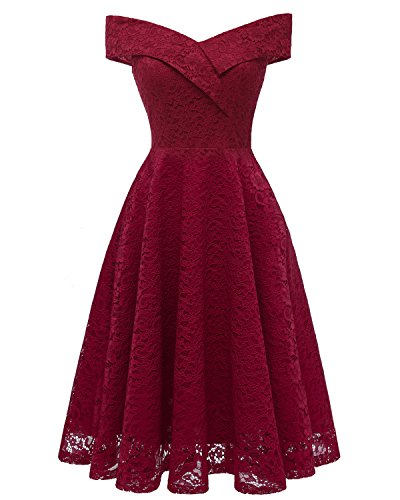 ANCHOVY Womens Floral Lace Cocktail Party Dress Vintage Off Shoulder Bridesmaid Swing Dress C79 (Wine red, M)