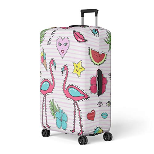Semtomn Luggage Cover Patch Badge Pin Stitched on Pink Stripes Lips Heart Travel Suitcase Cover Protector Baggage Case Fits 18-22 Inch