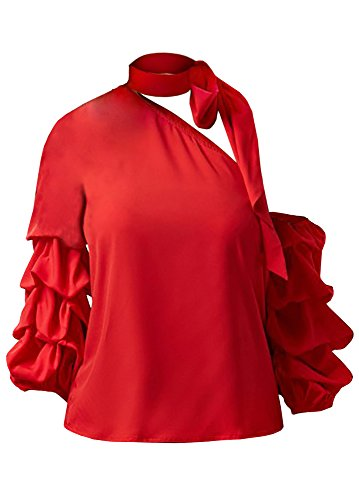 Womens Sexy One Side Off Shoulder Shirt Ruffle Layered Puff Sleeve Halter Neck Draped Blouses Tops (Top Pleated Sleeve Puff)