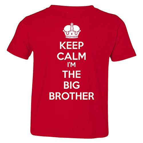 So Relative! Keep Calm I'm The Big Brother Baby-Boys & Kids T-Shirt (Red, Youth Medium (10-12)