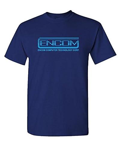 ENCOM - retro 80's movie evil empire - Mens Cotton T-Shirt, XL, Navy - 80's Movie T-shirt