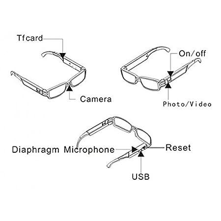 Resolución de vídeo DVR cámara espía gafas de 1280x960 ...