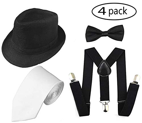 1920s Men Accessory Set Manhattan Hat, Y-Back Suspenders, Pre Tied Bow Tie,Gangster Tie Theme Party for Halloween (Black hat -