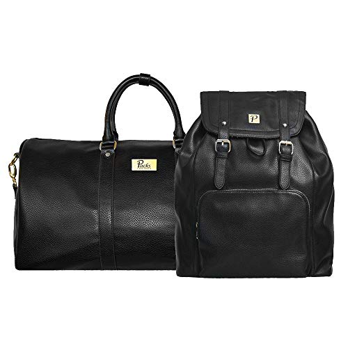 Packs Project - Hudson Travel Bag Set | Vegan Leather Backpack & Duffel | Carry On Size With Laptop Sleeve (Black)