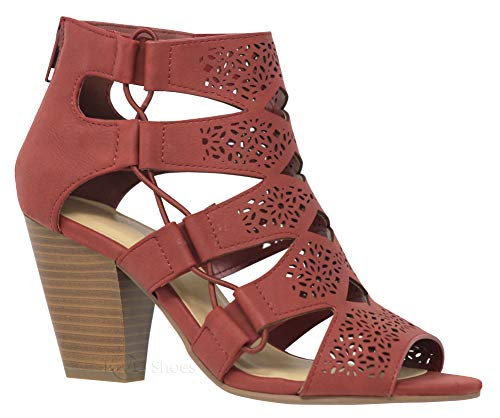 MVE Shoes Open Toe Perforated Lace up Elastic Side Stacked Chunky Heel Sandal, Trophy Rust NBPU 9