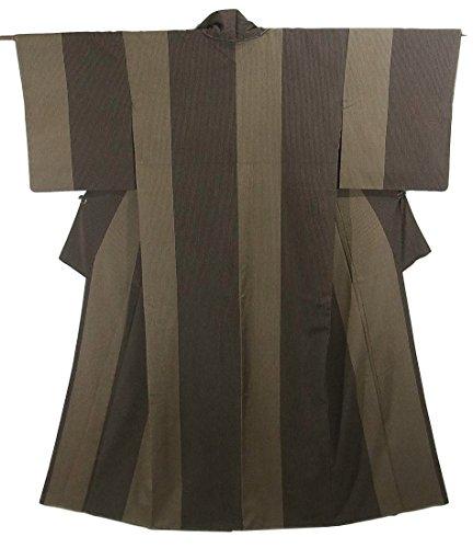 ツーリストすき農学リサイクル 着物 お召 正絹 袷 縞模様 本塩沢 裄68cm 身丈167cm