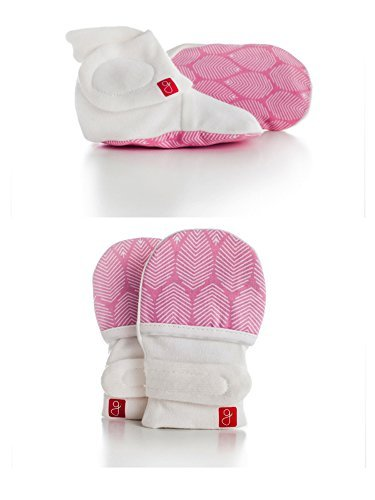(Organic Mitts & Booties Bundle, Soft Stay On Scratch Proof Mittens and Adjustable Baby Booties (Leaves/Pink, 0-3 Months) )