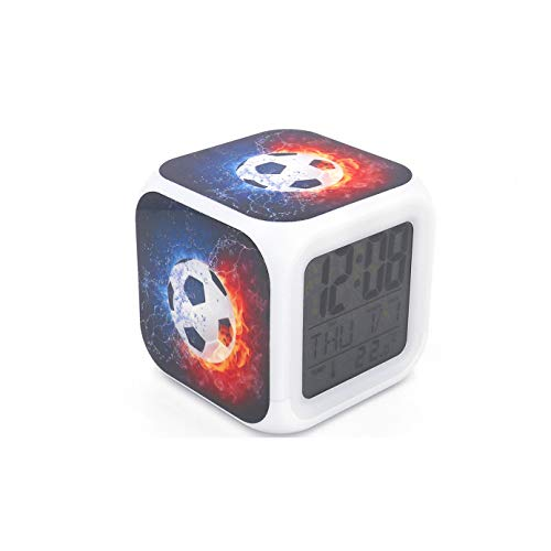 EGS New Soccer Ball Football Digital Alarm Clock Black Desk Table Led Alarm Clock Creative Personalized Multifunctional Battery Alarm Clock Special Toy Gift for Unisex Kids Adults