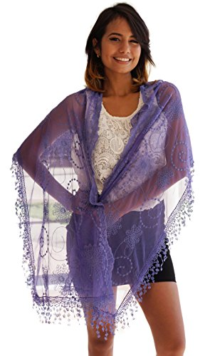 Cindy and Wendy Lightweight Soft Leaf Lace Fringes Scarf shawl for Women (Lavender Silk Scarf)