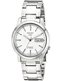 Mens SNK789 Seiko 5 Automatic Stainless Steel Watch with White Dial