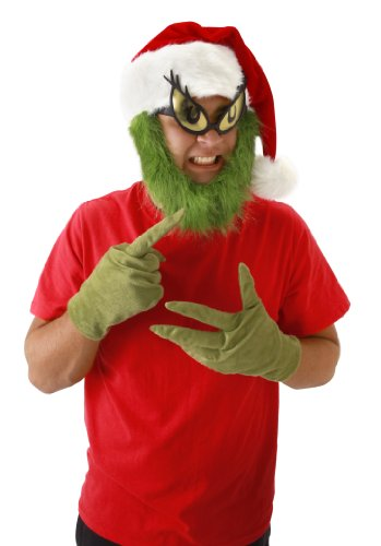 elope Grinch Beard Santa Hat, Green, One Size