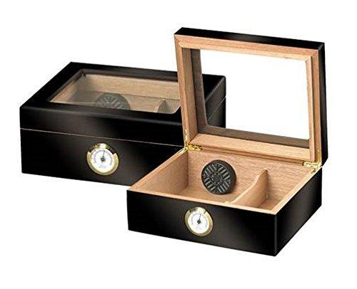 Quality Importers ガラストップ葉巻き貯蔵箱 ブラック HUM-25HYG B01ACXV9OK ブラック ブラック