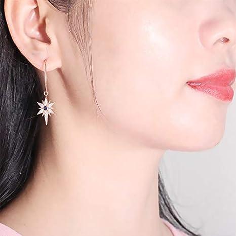 NOBRAND 925 Pendientes Colgantes de joyería de Plata Hexagrama Forma de Estrella Zafiro Zircon Pendientes de Piedras Preciosas para Boda de Mujer