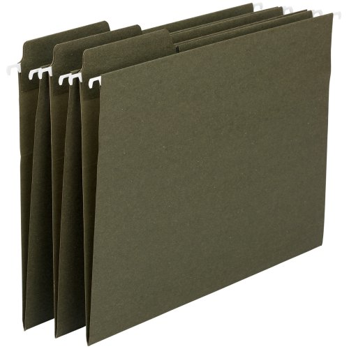 Smead 100% Recycled FasTab Hanging File Folder, 1/3-Cut Built-In Tab, Legal Size, Standard Green, 20 Per Box (64138)