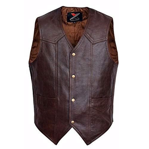 Men Motorcycle Leather Vest Classic Western Style Brown V118 (5XL)
