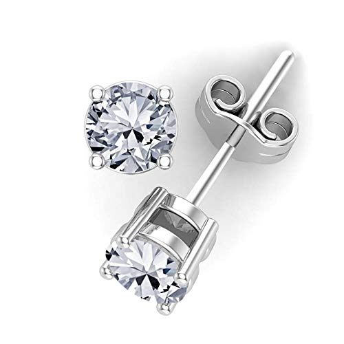 (0.25 carat total weight Diamond Stud Earrings 14k White Gold-4 Prong Basket Style Friction Push Back Posts (G-H I1-I2) Eyeclean)