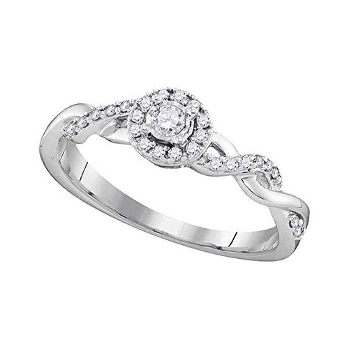 0.21 Cttw. Jewels By Lux 10kt White Gold Womens Round Diamond Solitaire Twist Bridal Wedding Engagement Ring 1/5 Cttw (I1 I2 clarity; H I color)