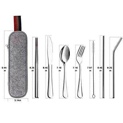 Devico Portable Utensils, Travel Camping Cutlery Set, 8-Piece including Knife Fork Spoon Chopsticks Cleaning Brush Straws Portable Case, Stainless Steel Flatware set
