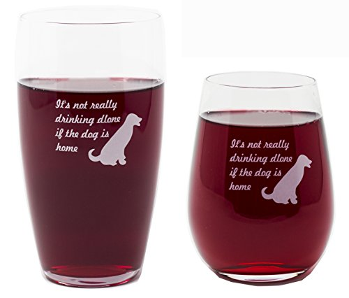 (It's Not Really Drinking Alone if the Dog is Home Wine Glass and Beer Glass Combo by Momstir 15oz Dog Lovers Gift for Him and Her)